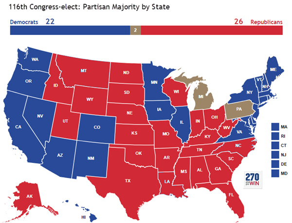 After the Midterms: Partisan Control of the U.S. House by State