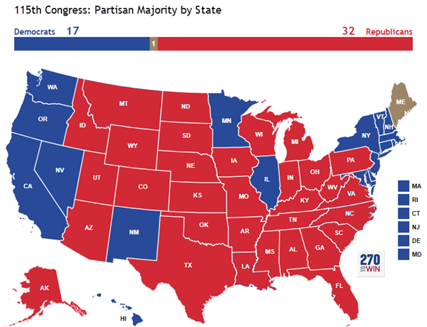 Map Of The State With The Most Us Representatives After the Midterms: Partisan Control of the U.S. House by State