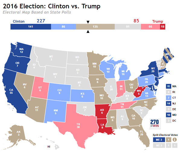 Trump Won States Map.Updated Electoral Map Based On Polls