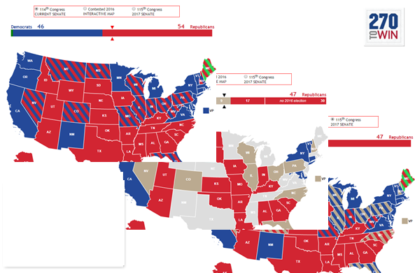 Us Senate Interactive Map 270toWin Launches New 2016 Senate Interactive Map