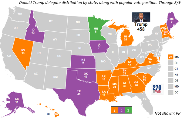 Donald Trump Delegate Summary Map